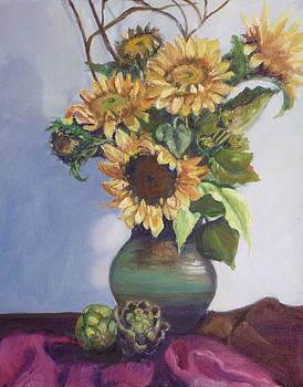 Sunflowers  and Artichokes by Gloria Smith