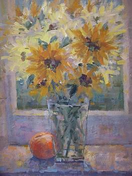 Sunflowers and peach. by Bart DeCeglie