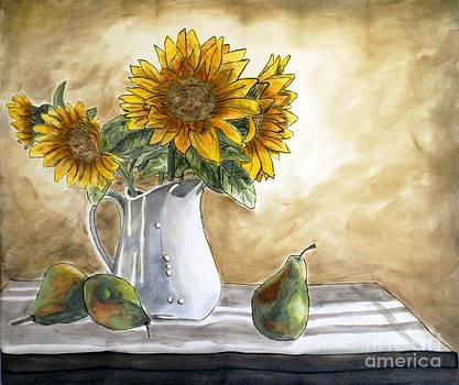 Sunflowers and Pears by Linda Marcille