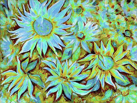 Sunflowers Cobalt by Leslie Marcus