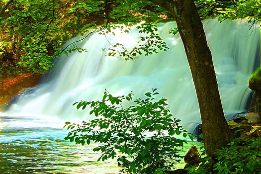 Sunlit Waterfall by Cathy Leite Photography