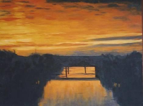 Sunrise over Otis Redding Bridge by Terry Forrest