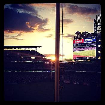 Sunset At Citizens Bank Park. Let's Go by Kim Kay