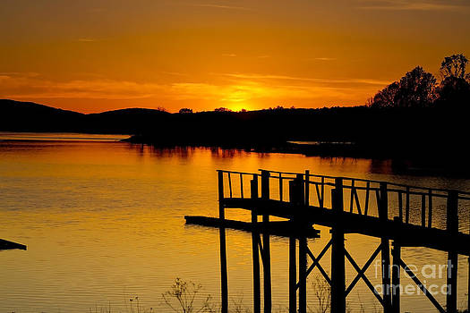 Sunset at Leesville Lake by Mark East