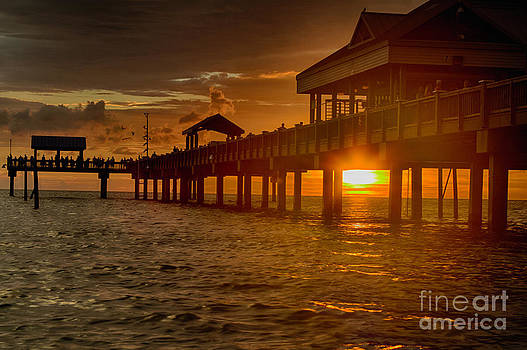 Sunset at pier 60 Clearwater Beach Florida by Robert Wirth