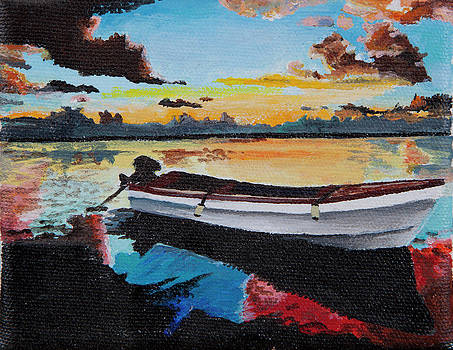 Sunset boat by Sandra Azancot