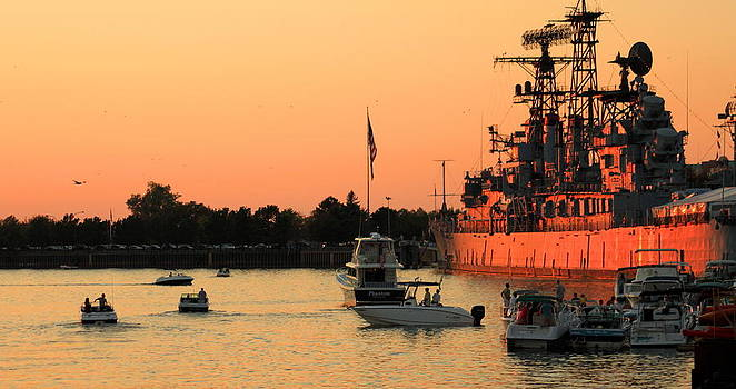 Sunset By The Navy Ship by Beverly Kobee