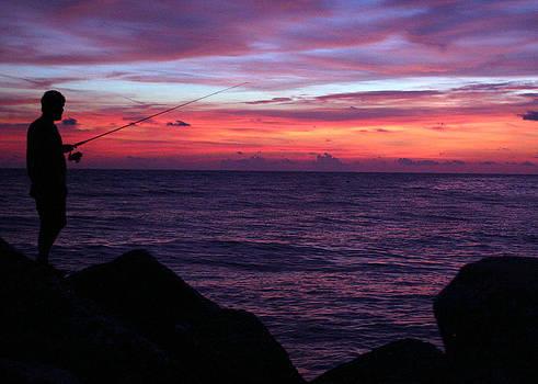 Sunset Fisherman  by Monica Lahr