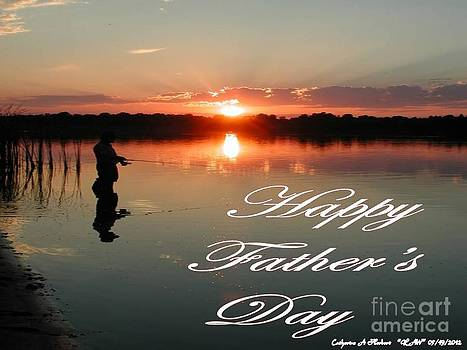 Sunset Fishing Happy Fathers Day by Catherine Herbert