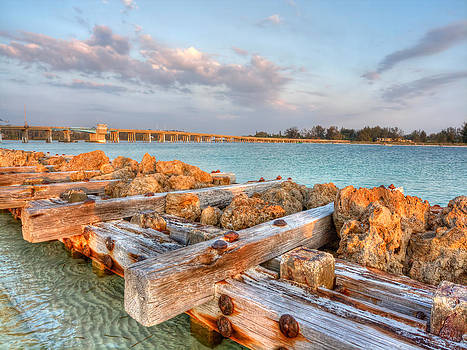 Sunset Longboat Pass Bridge  by Jenny Ellen Photography