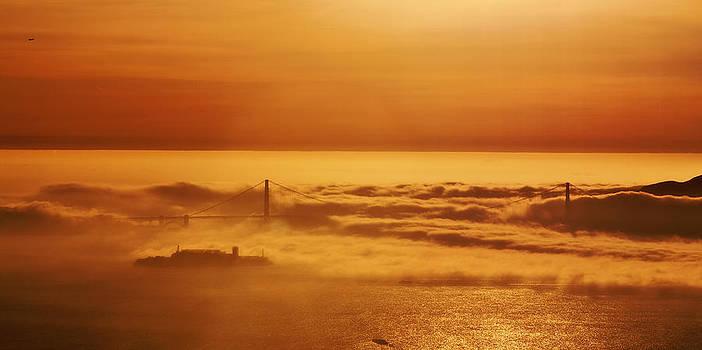 Sunset of the Bay 2. 6x12 Panorama by Laszlo Rekasi