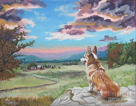 Sunset on the Corgi Farm by Ann Becker