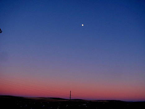 Sunset Over Country Town with Moon by Amy Bradley