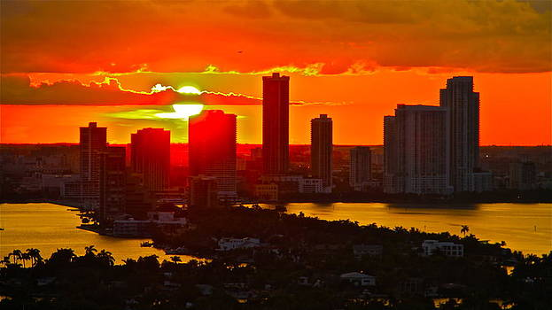 sunset over Miami 2 by Ronald  Bell