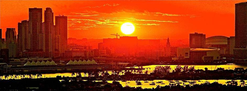 sunset over Miami perfecto by Ronald  Bell