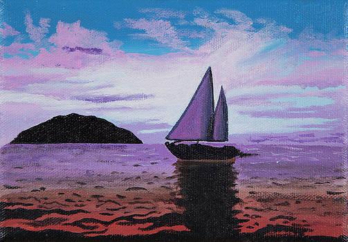 Sunset Sailboat by Sandra Azancot