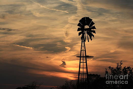 Sunset Sky with Windmill Silhouette by Robert D  Brozek