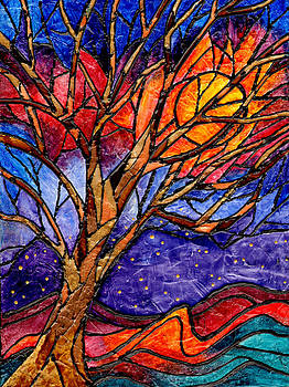 Sunset Tree Abstract by Elaine Hodges