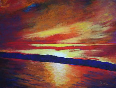 Sunset viewed on a Boat by Karin Eisermann