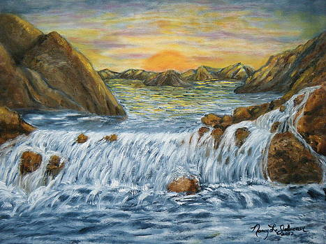 Sunset Waterfall by Nancy L Jolicoeur