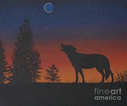 Sunset Wolf by Kimberlee  Ketterman Edgar