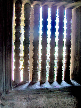 Roy Foos - Sunshine Through Angkor Wat Window With Stone Uprights