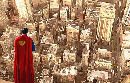 Superman Over Metropolis Signed Prints available at laartwork.com Coupon Code KODAK by Leon Jimenez