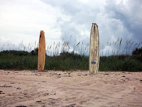 Surfboards in the Sand by April Wietrecki Green