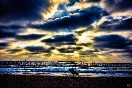Surfer At Pacific Beach by Chris Lord