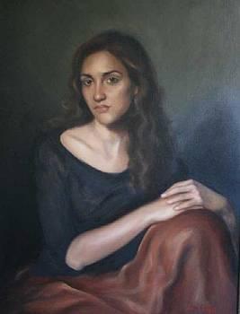 Sylvia oil portrait by Lucinda Coldrey