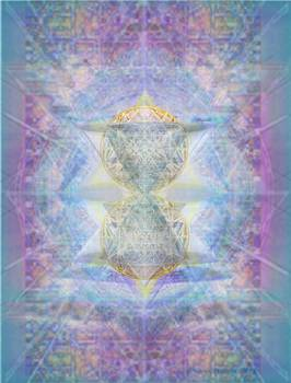 SyntheCentered DoubleStar Chalice in BlueAurayed MultiVortexes on Tapestry by Christopher Pringer