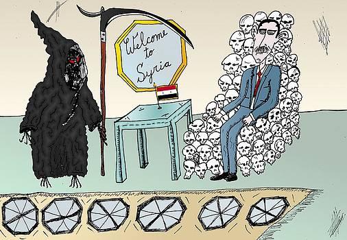 Syria Welcomes Death Cartoon by Yasha Harari