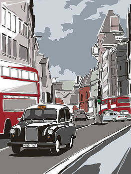 Taxi On London Street by Dynamic Graphics