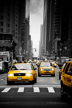 Taxis on 6th Avenue by Heidi Reyher