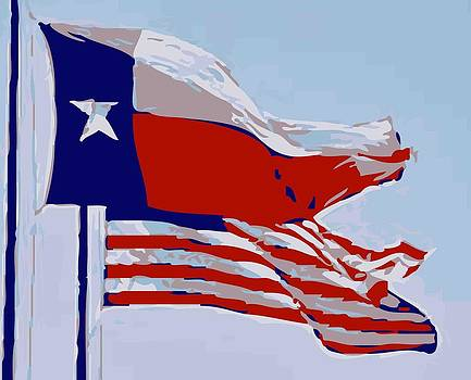 Texas and USA Flags Flying Color 12 by Scott Kelley