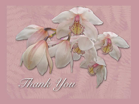 Mother Nature - Thank You Greeting Card - Pink and White Orchid