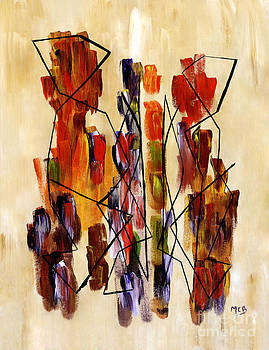 Figurative Abstract African Couple Reproduction on Gallery Wrapped Canvas  by Marie Christine Belkadi