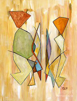Modern Art Beige Orange Green Abstract Color Blocks Barcelonian Couple by Marie Christine Belkadi