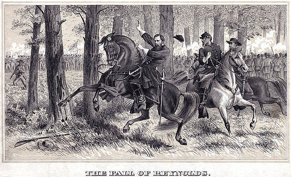 The Death of General Reynolds at Gettysburg by Alfred Rudolph Waud  by Don Struke