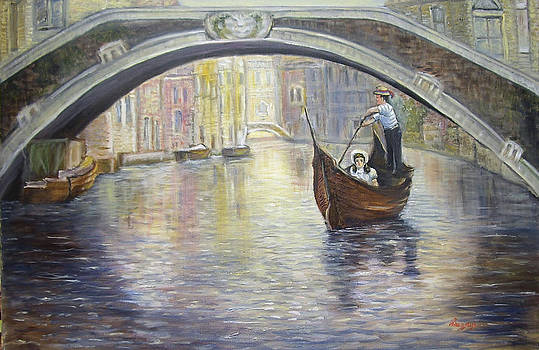 The Gondolier Venice Italy by Katalin Luczay