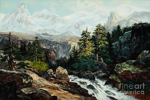 The Grand Tetons by Thomas Moran Study by W Scott Fenton by W  Scott Fenton