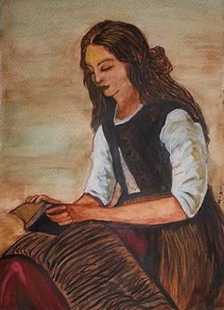 The Little Reader by Corot by Iris Devadason