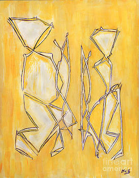 Marie Christine Belkadi - Unique Abstract Art Giclee Canvas Print Original Painting The Couple Decorator Line Art Yellow White