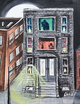 The Neighborhood at Night by Camille Roman