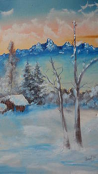 The Tetons in Winter by Lora Bradshaw