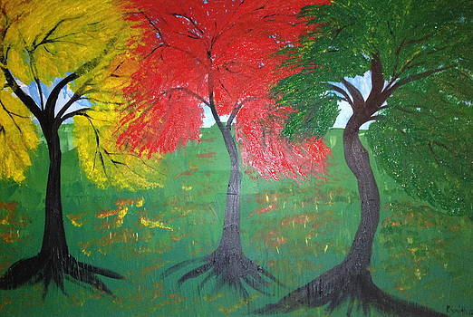 The three colours of Maple trees by Pretchill Smith