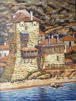 The Tower of Ouranoupolis Mount Athos by Charalampos Laskaris