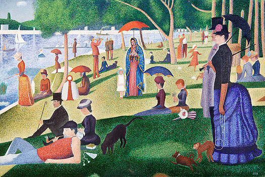 The Virgin of Guadalupe takes a Sunday Afternoon Walk Along Seurate's La Grande Jetta  by James Roderick