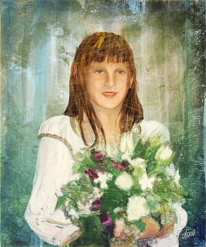 The Young Girl And Her Flowers by Arline Wagner