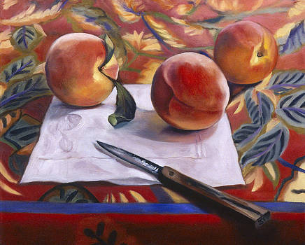 Three Peaches a Paper Napkin and a Knife by Mary Gingrich